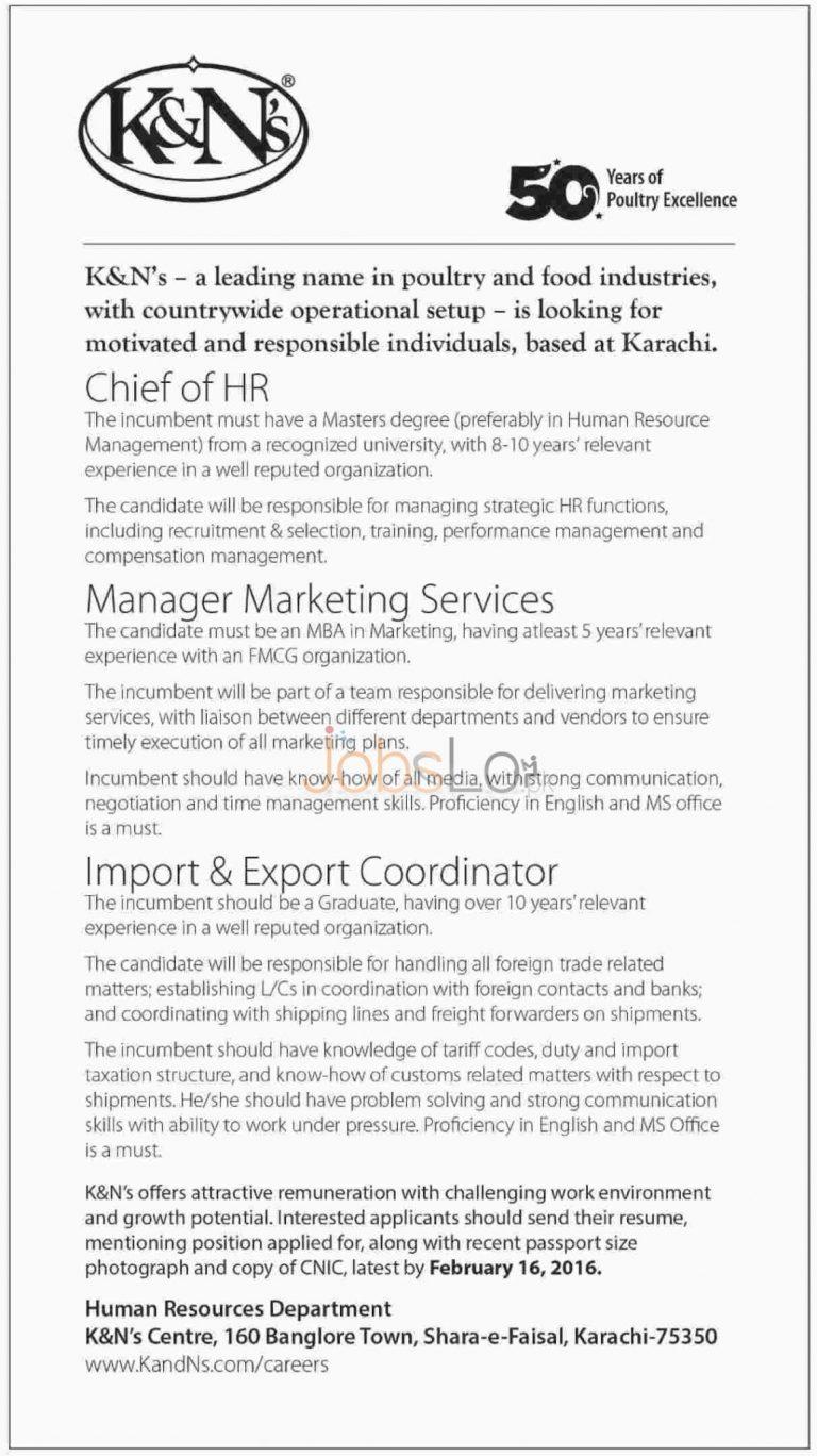 K & N's Food Industries Jobs February 2016 Karachi Latest Advertisement