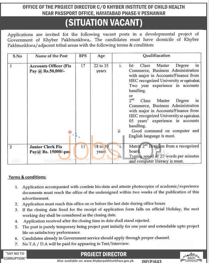 Situations Vacant in Institute of Child Health Hayatabad, Peshawar For Accounts Officer & Jr Clerk