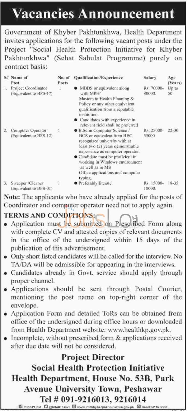Health Department 05 February 2016 Jobs in Government of KPK Apply Online