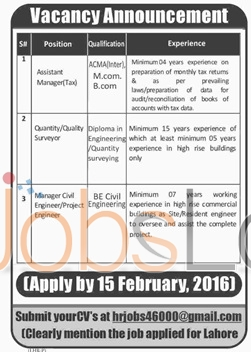 Situations Vacant in Lahore for Assistant Mnaager, Quantity Surveyor and Manager Civil Engineer 2016
