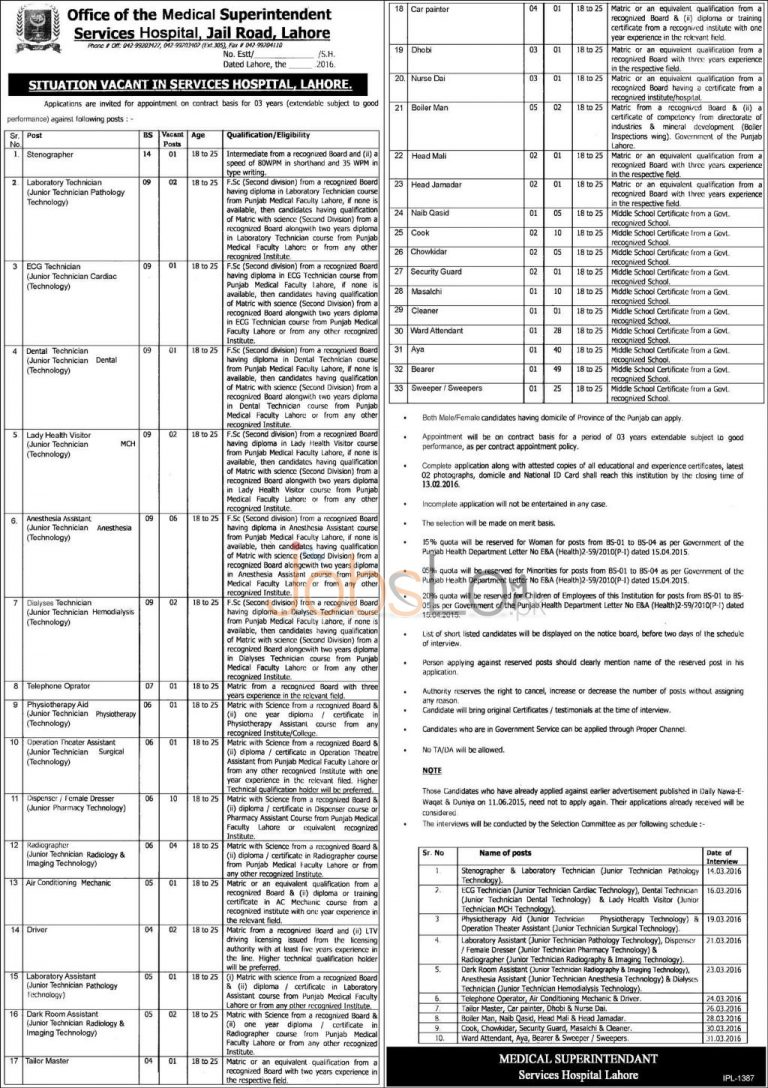 Services Hospital Jobs February 2016 in Lahore For Stenographer, Technician and Driver