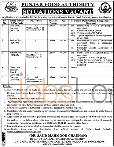 Punjab Food Authorities 07 Feb 2016 in Lahore Latest Advertisement