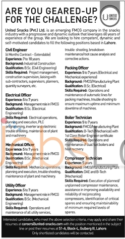 United Snacks Private Ltd Jobs 2016 in Lahore For Civil Engineer Latest Advertisement