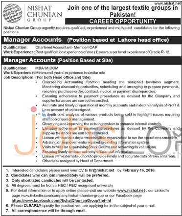 Nishat Chunian Group 2016 Jobs in Lahore for Accounts Manager