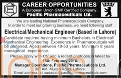 Pacific Pharmaceuticals Limited Jobs 2016 in Lahore Employment Offers