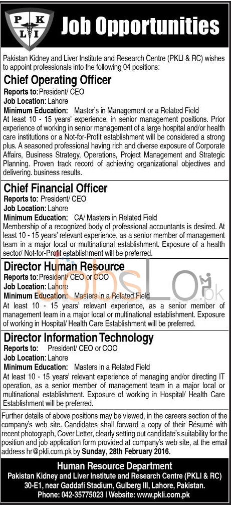 Situations Vacant in Pakistan Kidney & Liver Institue & Research Centre Lahore 2016 Career Opportunities