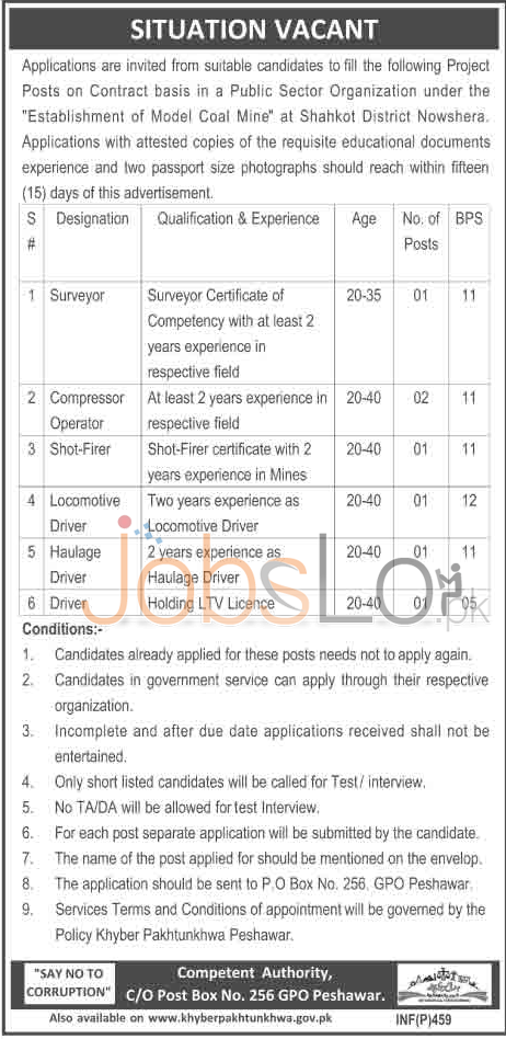 Public Sector Organization 2016 Job Vacancies in District Shahdadkot, Nowshera Latest Advertisement