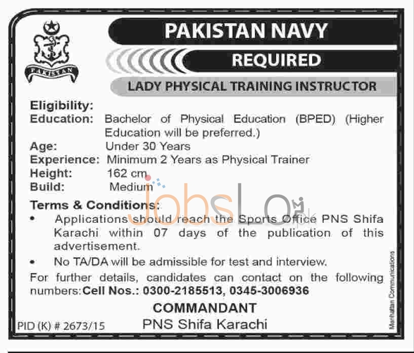 Pakistan Navy for Physical Lady Instructor 2016 Jobs in Karachi