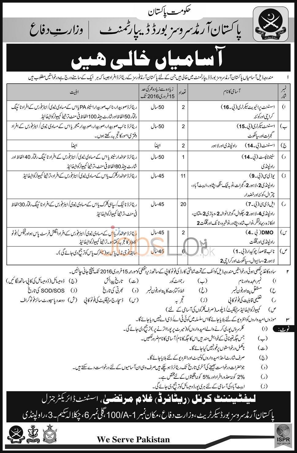 Situations Vacant in Pakistan Armed Services Board Department 2016 in Lahore, Rawalpindi and Gilgit