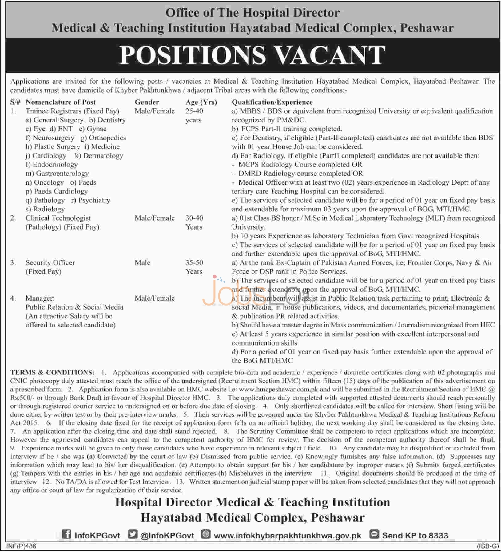 Apply Online in Peshawar Office Of The Hospital Director Medical & Teaching Institution 2016