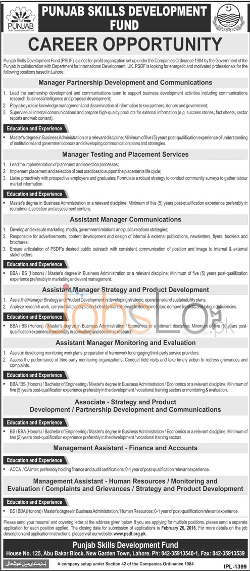 PSDF Jobs 07 February 2016 Govt of Punjab Apply Online Career Opportunities