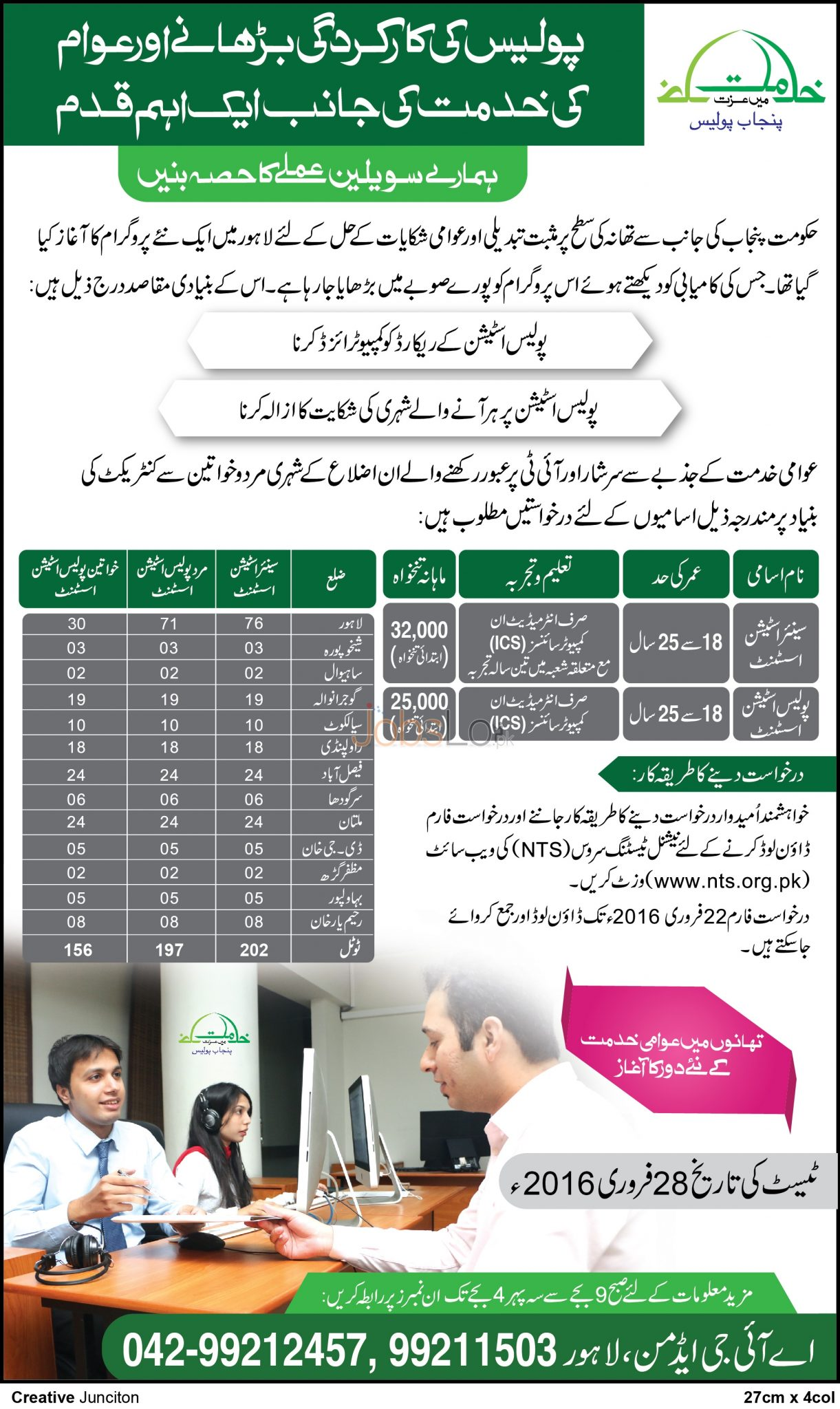 Situations Vacant in Punjab Police 2016 NTS Lahore Application Form Last Date