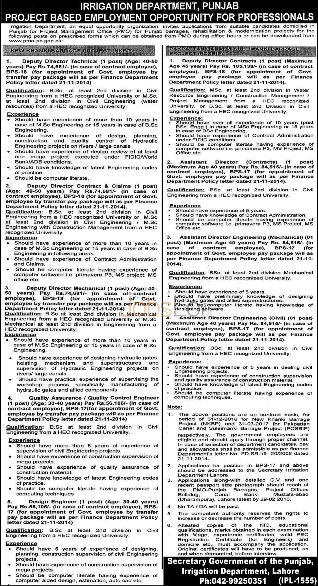 Situations Vacant in Govt of Punjab Irrigation Department February 2016 Apply Online