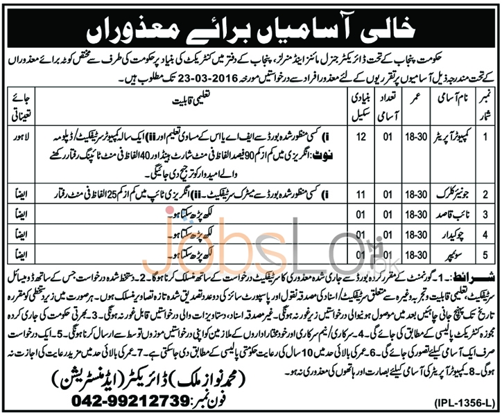 Employment Offer is Mines and Minerals Department Punjab February 2016