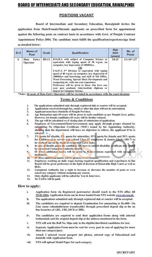 Recruitment Offers BISE NTS Rawalpindi 10 February 2016 Apply Online