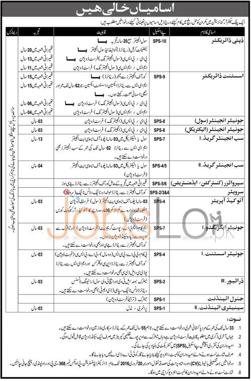 Public Sector Organization Makran Coastal Range 2016 Employment Offers in Rawalpindi