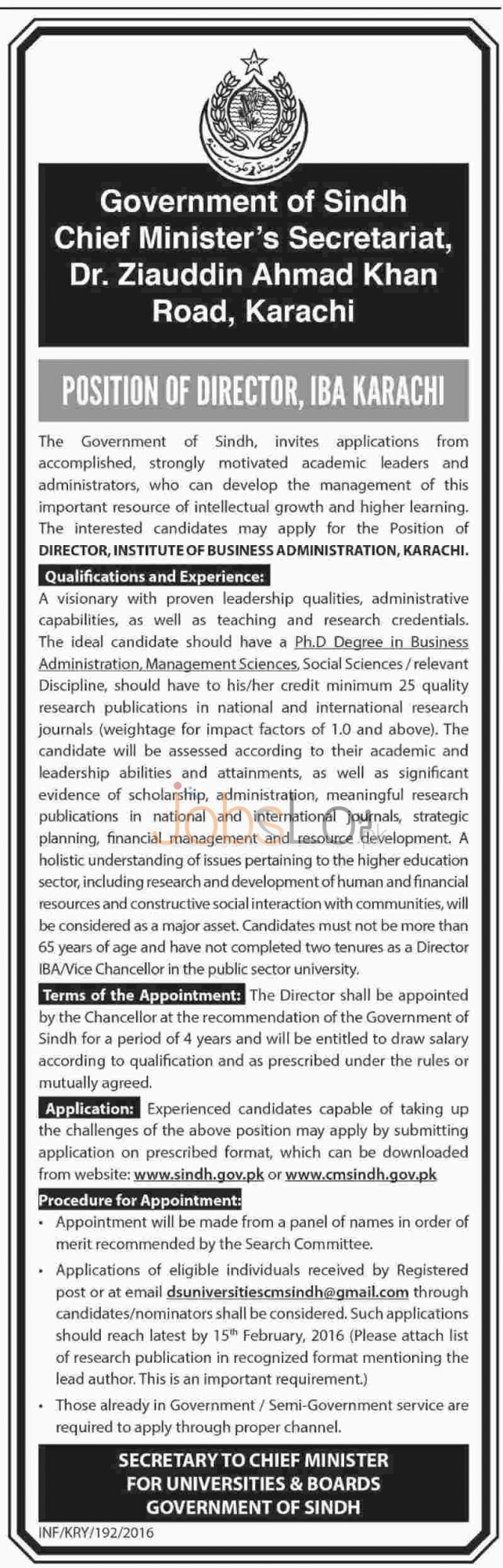 University and Board of Govt of Sindh  2016 Jobs for Director in IBA Karachi