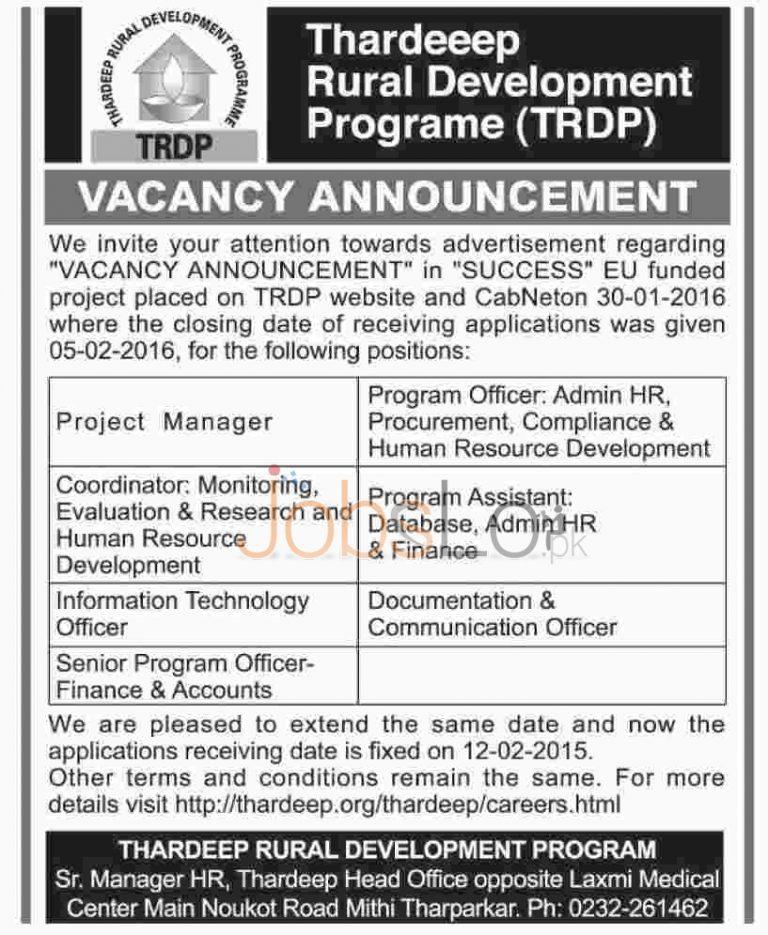 TRDP Jobs February 2016  in Tharparkar Latest Advertisement