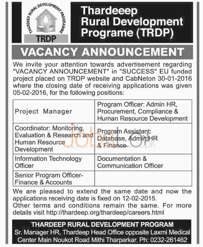 Situations Vacant in TRDP Tharparker Jobs February 2016
