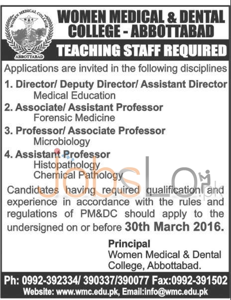 Women Medical & Dental College Jobs 15 March 2016 in Abbottabad for Teaching Staff