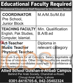 Career Offers in Allied School Lahore 2016 For Coordinator & Teacher Eligibility Criteria