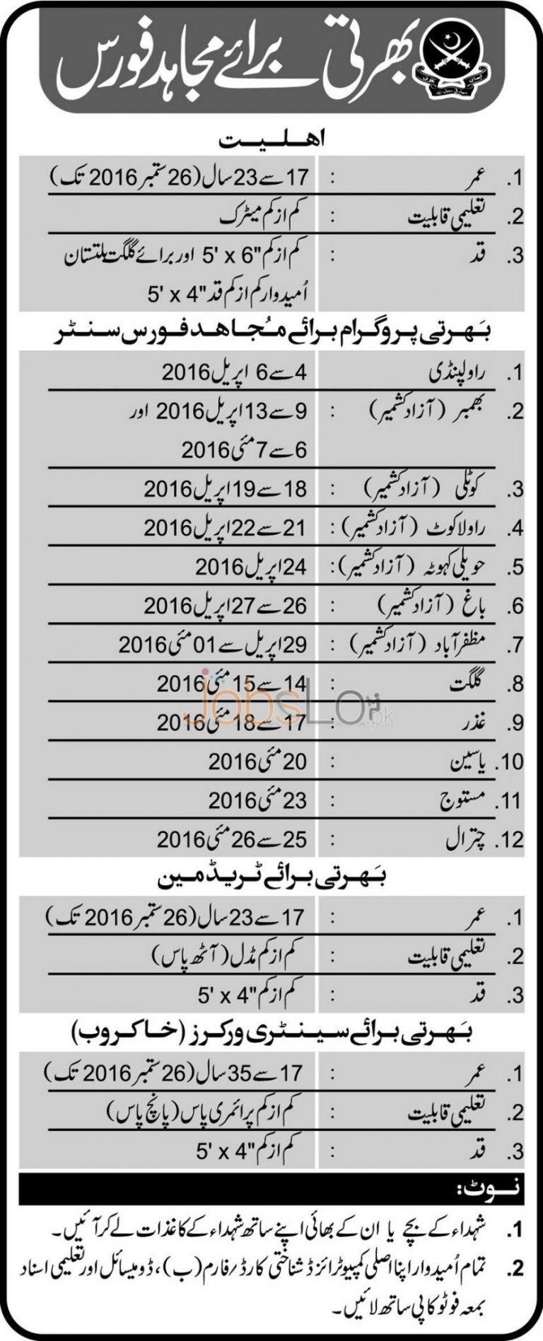 Pakistan Army as Mujahid Force Rawalpindi Jobs 2016 Recruitment Offers