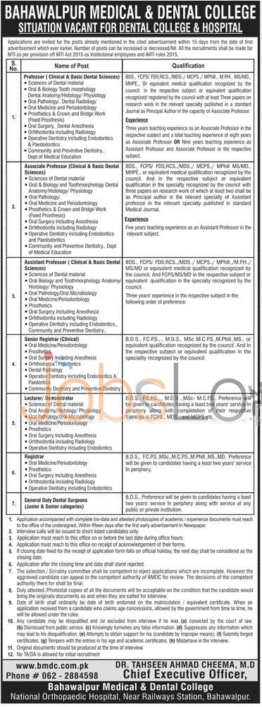 Bahawalpur Medical & Dental College Jobs 2016 For Professor Asst Professor Latest