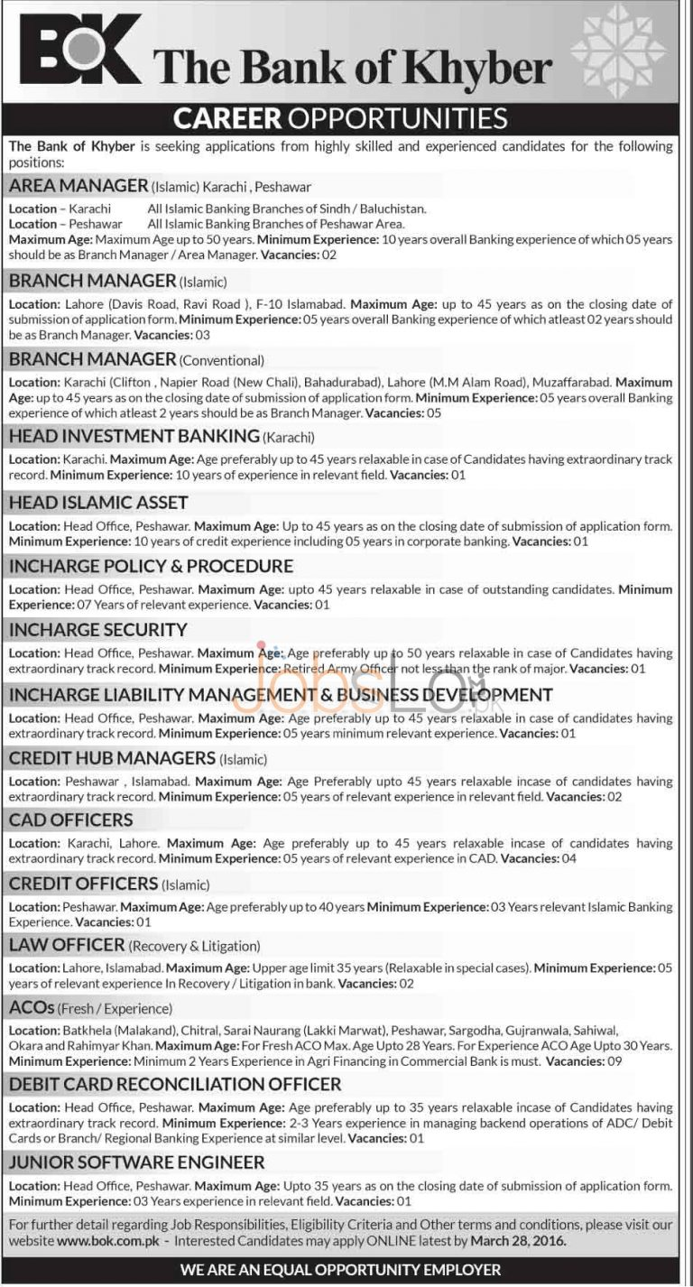 Bank Of Khyber Jobs 13 March 2016 in Lahore & Peshawar Apply Online Last Date