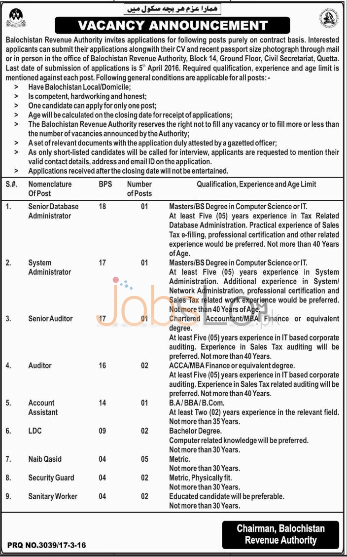 Career Opportunities in Balochistan Revenue Authority 2016 for Sr Database Administrator, Auditor Eligibility Criteria.