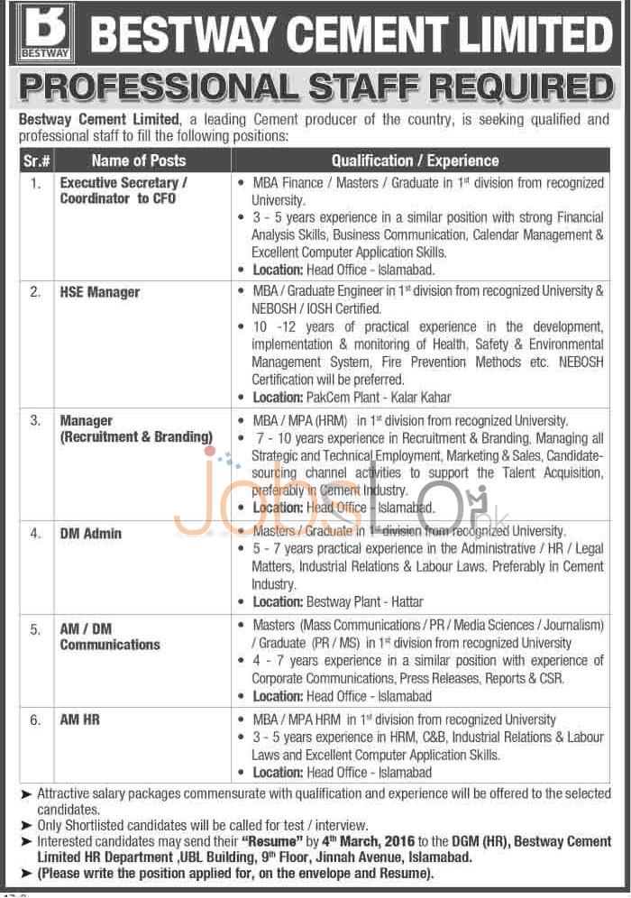 Recruitment Offers in Bestway Cement Limited February /March 2016 Islamabad and Hattar