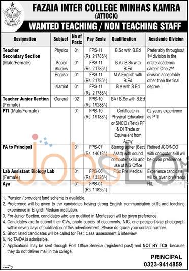 Fazaia Inter College Minhas Kamra Jobs 2016 For Teaching & Non Teaching Staff Career Offers