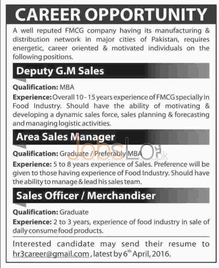 Fast Moving Consumer Goods Company FMCG Jobs 2016 Apply Online Last Date