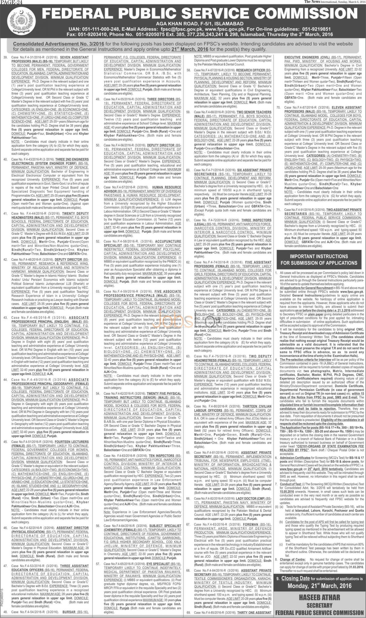Recruitment Opportunities in FPSC 06 March 2016 Application Form Latest Advertisement