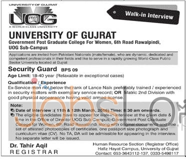University Of Gujrat Jobs 2016 For Security Guard Walk In Interview Latest