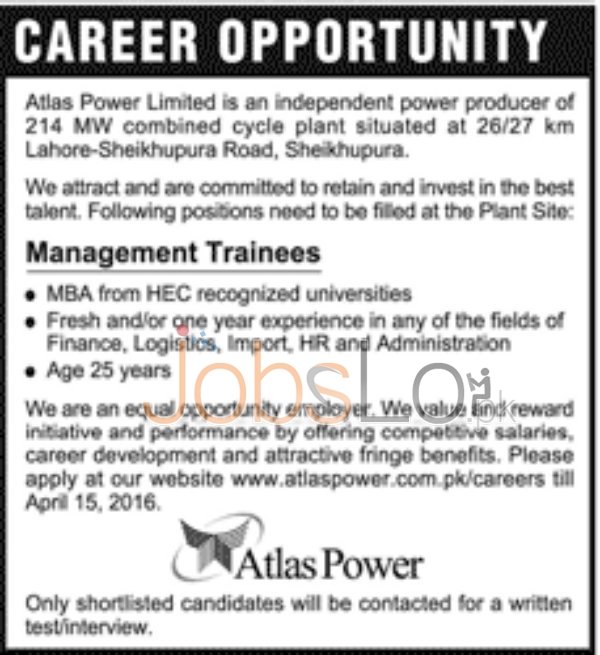 Honda Atlas Power Ltd Jobs