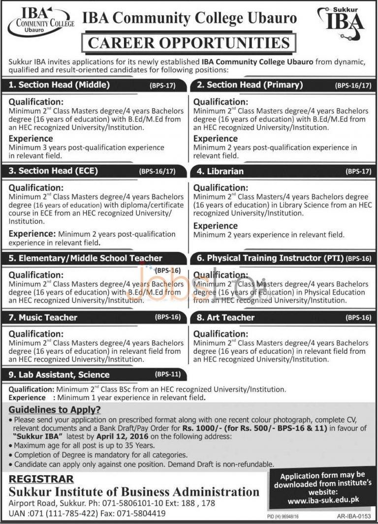 IBA Ubaro Jobs 2016 For Section Head Application Form www.iba-suk.edu.pk
