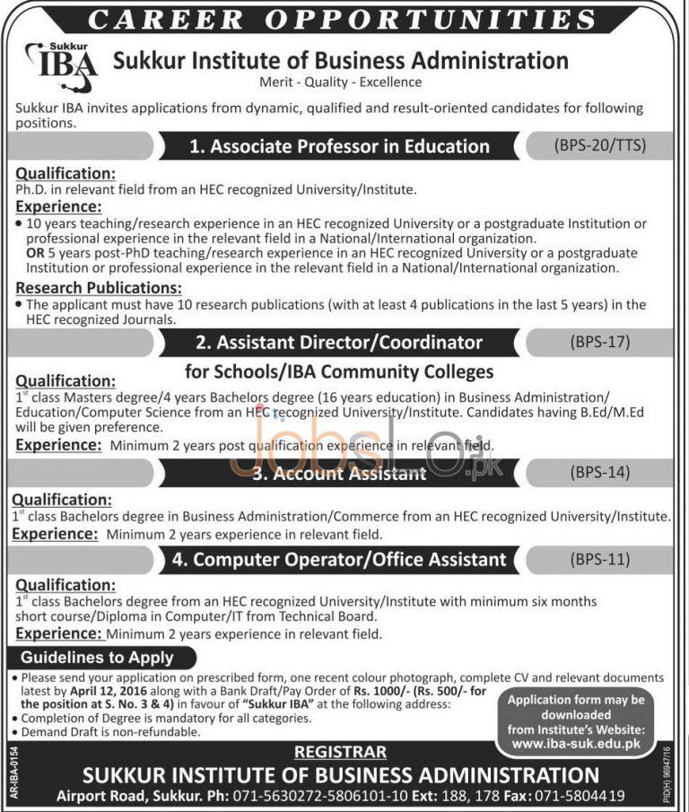 IBA Sukkur Jobs 27 March 2016 Application Form Last Date