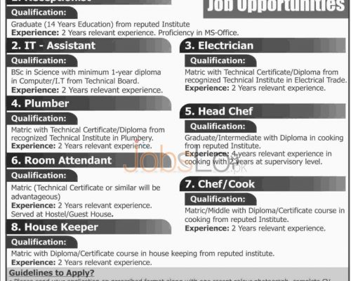 Recruitment Offers in Sukkur IBA For Receptionist, Room Attendant, Plumber Latest