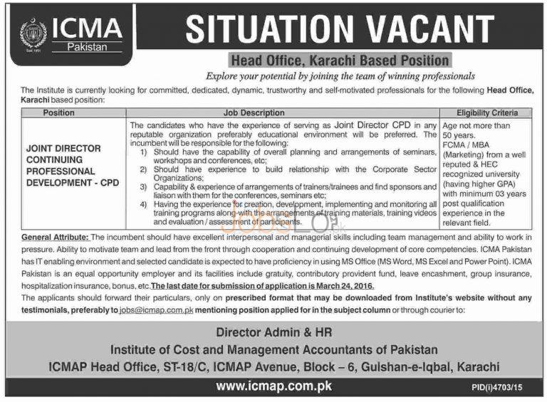 ICMAP Jobs March 2016 in Karachi Latest Advertisement Apply Online