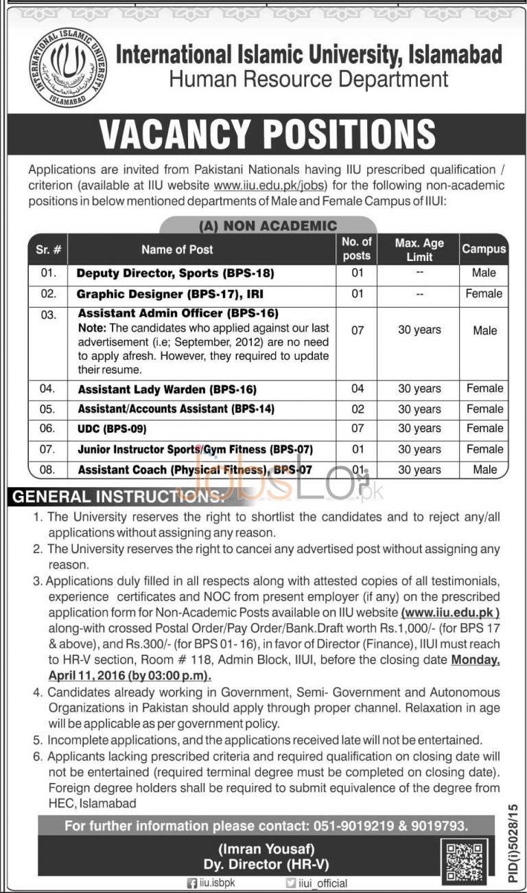 International Islamic University Islamabad Jobs 2016 Application Form Latest