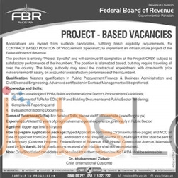 Situations Vacant in  Federal Board of Revenue 2016 in Islamabad Eligibility Criteria Latest