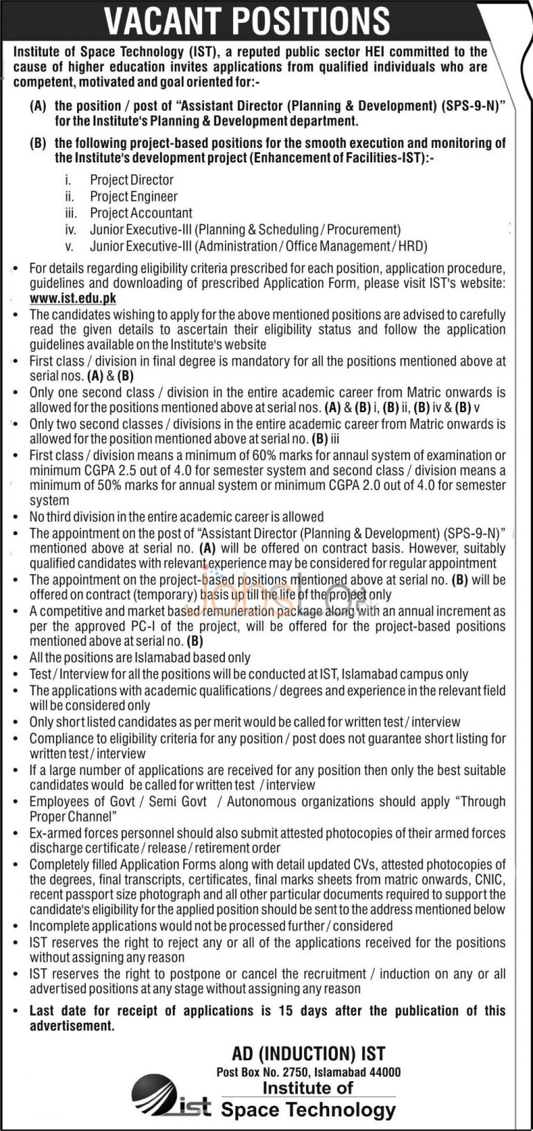 Institute of Space Technology IST Islamabad Jobs 2016 Application Form www.ist.edu.pk