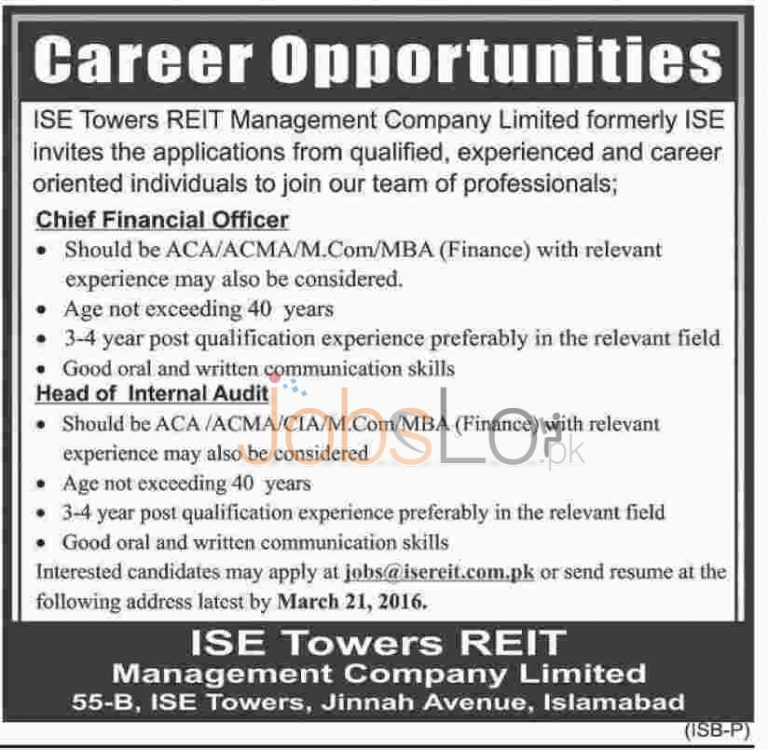 ISE Tower REIT Management Company Ltd Jobs 2016 in Islamabad For CEO &  Head of Internal Audit