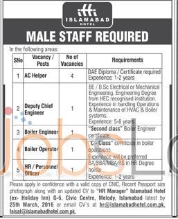 Recruitment Offers in Islamabad Restaurant 2016 For AC Helper, Boiler Operator Eligibility Criteria