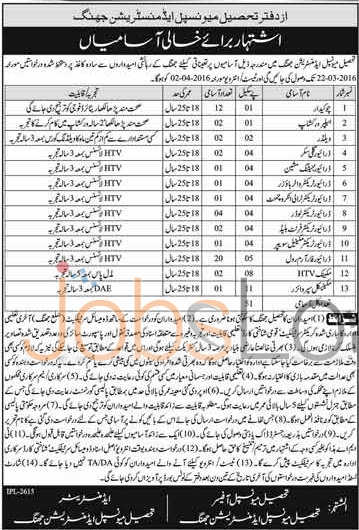Recruitment Offers in Tehsil Municipal Administration 2016 Test and Interview Schedule