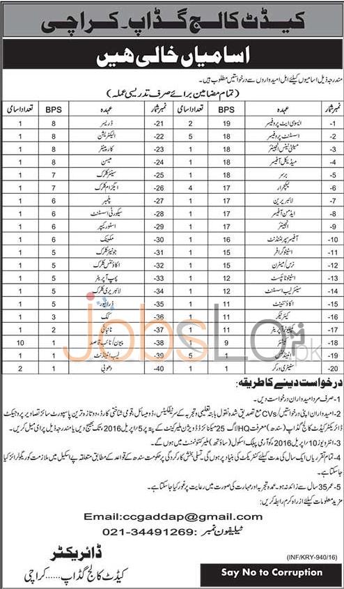 Cadet College Gadap Karachi Jobs 18 March 2016 for Teaching & Non Teaching Staff