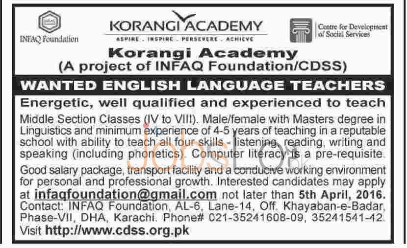 Infaq Foundation Korangi Academy Karachi Jobs
