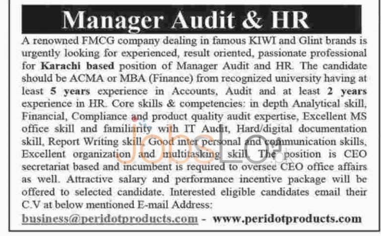 FMCG Company Karachi Jobs 2016 For Manager Audit & HR Eligibility Criteria