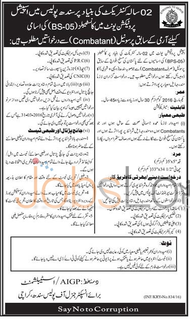 Sindh Police SPU Karachi Jobs 16 March 2016 For Constables BS-05 Latest