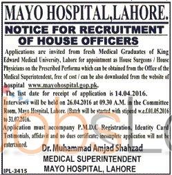 Mayo Hospital King Edward Medical University Lahore Jobs 2016 Application Form